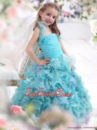 beautiful straps appliques and ruffled layers pageant dresses for