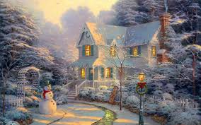 download wallpapers download 1680x1050 paintings winter houses