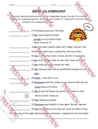 simple and compound sentence worksheet thanksgiving themed by