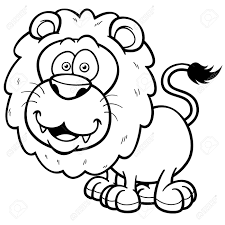 illustration of lion cartoon coloring book royalty free cliparts