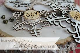 Wooden Christmas Ornaments To Decorate by Burned Wood Christmas Ornaments Snowflakes And Words
