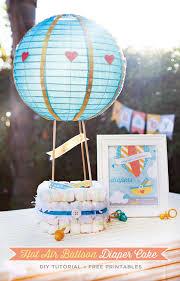 air balloon diaper cake tutorial free printables hostess