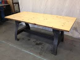 repurposed dining table mesmerizing oak top benches with dark finished base legs as