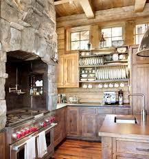 cabin kitchens kitchen rustic with plate racks wood kitchen backsplash