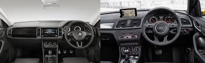 Audi Q3 Interior Pictures Skoda Kodiaq Vs Audi Q3 Interior Comparison Carblogindia