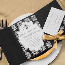 wedding invitations simple damask black pocket gold ribbon
