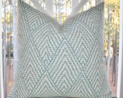 blue and gray sofa pillows decorative designer pillow blue aqua gray ivory geometric pillow