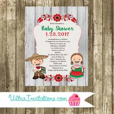 charro mariachi mexican baby shower invitations printable or prints
