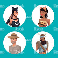 blue background with circular button half body male and female in
