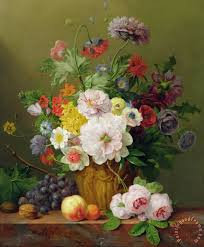 flowers and fruit anthony obermann still with flowers and fruit painting