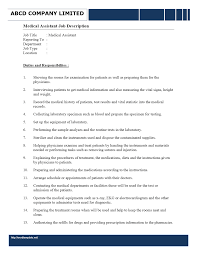Medical Assistant Resume Samples Free by Assistant Medical Assistant Description For Resume