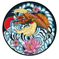 tattoo design koi dragon tattoo design koi dragon with cherry blossom and wave in circle koi
