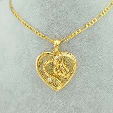 girl gold necklace images 22k yellow real gold filling plated heart allah necklace pendants jpg