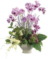 Artificial Flowers For Home Decoration Phalaenopsis Orchid Dendrobium Orchid And Hydrangea Arrangement