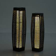 Patio Floor Lights by Rattan Solar Powered Lamp Led Tall Lantern Garden Patio Wicker