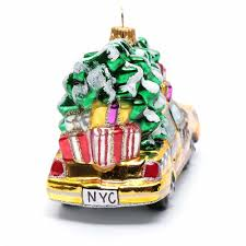 blown glass ornament new york taxi with tree