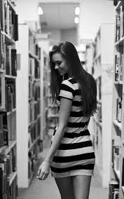 brunette in bookstore bookshelves striped dress iphone 6 plus hd