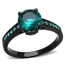 blue green rings images 2 16ct blue green zirconia black stainless steel jpg