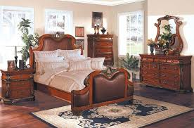Traditional Cherry Bedroom Furniture - cherry finish leather upholstery traditional bedroom set