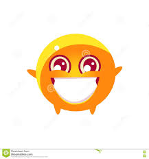 dancing emoji extatic round character emoji stock vector image 78985078