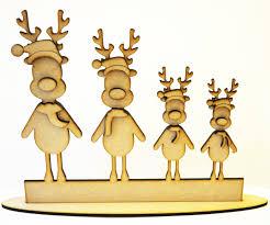 free standing reindeer family christmas craft blank laser cut