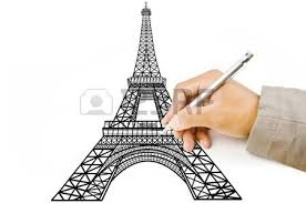 hand drawing eiffel tower line in paris for construction stock