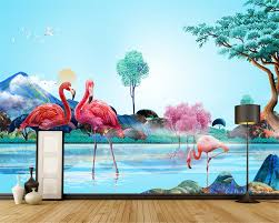 compare prices on 3d jungle wall murals wallpaper online shopping beibehang modern art mural custom wallpaper 3d jungle watercolor flamingo wallpaper wall decorative painting papel de parede