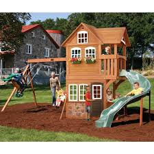backyard discovery prestige residential wood playset with image on
