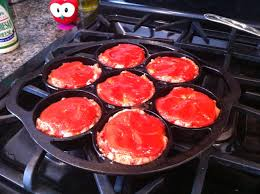 Cast Iron Cooking Mini Meatloaf Recipe Made In The Lodge Cast Iron Drop Biscuit Pan