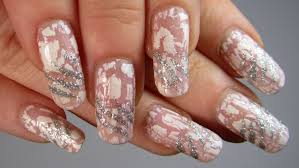 pink white u0026 silver glitter crackle design nail art tutorial
