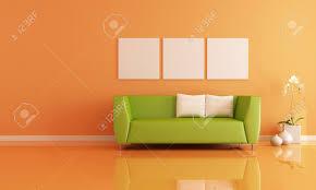 green sofa in a orange living room rendering stock photo