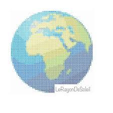 africa map emoji modern cross stitch pattern earth planet africa europe