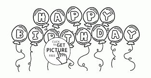 bunch of balloons happy birthday coloring page for kids holiday
