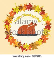 vector cooked turkey for thanksgiving day and autumn leaves stock
