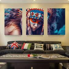 online get cheap native indian painting aliexpress com alibaba modular painting modern wall art 3 panel native american indian girl feathered prints picture for living room home decor canvas