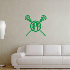 monogrammed lacrosse stick wall decal lulalax monogrammed lacrosse crossed sticks female removable lulagraphix wall decal