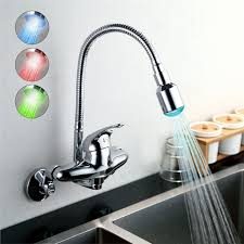 led kitchen faucets chrome finish single handle color changing led wall mount kitchen