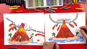 how to draw a volcano art for kids hub