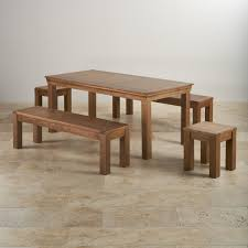 Rustic Oak Bench French Oak Dining Set 6ft Table With 2 Benches U0026 Stools