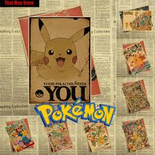 classic retro wall stickers promotion shop for promotional classic pokemon pocket monsters cartoon vintage retro kraft coated poster decorative diy wall sticker art home decor gift 30x21cm