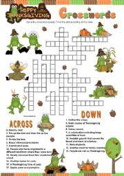 worksheet happy thanksgiving crosswords