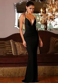 black plain condole belt backless plunging neckline maxi dress