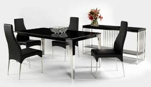 contemporary dining room with black stainless steel black table