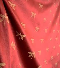 gold fabric imperial dragonfly maraschino red gold fabric traditional