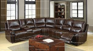 Brown Bonded Leather Sofa Keystone Brown Leather Plush 3 Recliners Cup Holders Storage