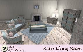 Second Life Marketplace Kates Living Room Blue Shabby Chic - Vintage living room set
