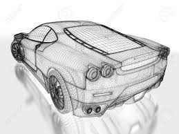 sports car drawing sport car model on a white background 3d rendered image stock