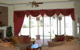Curtains With Red Interior Red And Cream Floral Pattern Drapery With Valance And