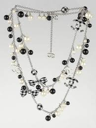 long chain bow necklace images Chanel black white gingham bow beaded cc long necklace yoogi 39 s jpg