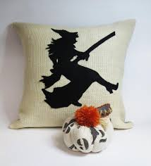 burlap throw pillow with felt witch applique on luulla